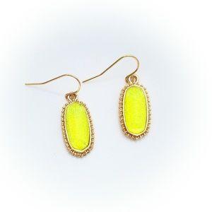 Neon Yellow Glitter Dangle Earrings